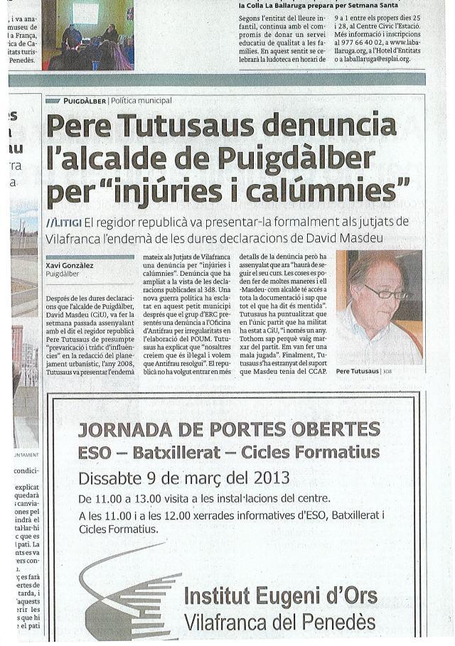 Pere Tutusaus querella a Masdeu